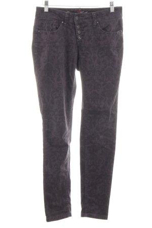 Buena Vista Five-Pocket-Hose schwarz-lila abstraktes Muster Casual-Look