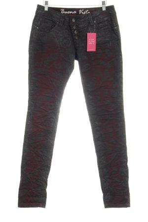Buena Vista Pantalone cinque tasche bordeaux-nero stampa integrale