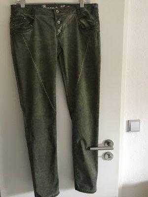 Buena Vista Boyfriend Trousers dark green cotton