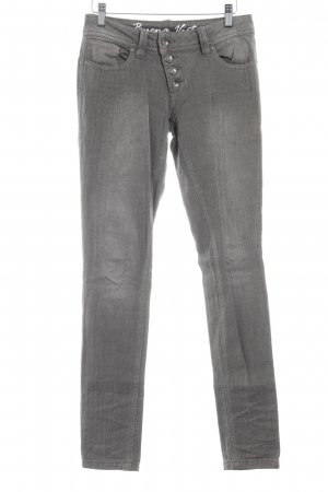 Buena Vista Skinny Jeans graubraun Fischgrätmuster Casual-Look