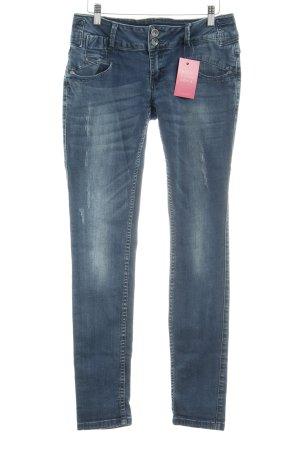 Buena Vista Skinny Jeans stahlblau Used-Optik