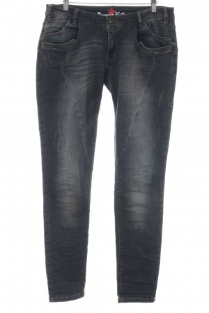 Buena Vista Jeans slim fit blu scuro-marrone stile casual