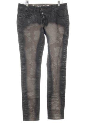Buena Vista Slim Jeans florales Muster Bleached-Optik