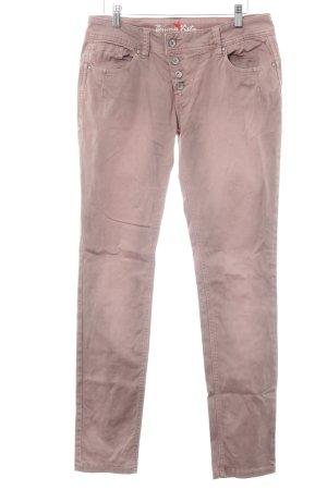 Buena Vista Pantalón elástico rosa empolvado-marrón grisáceo look casual