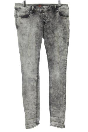 Buena Vista Stretchhose grau Farbtupfermuster Street-Fashion-Look