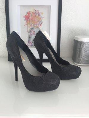 Buffalo 41 high heels in schwarz mit feinem Glitzer - einmal getragen