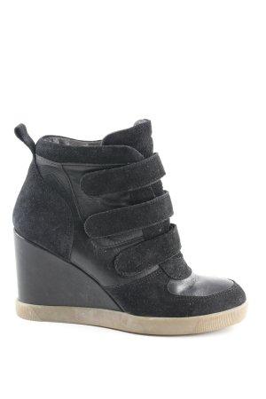 Buffalo Absatz Sneaker schwarz Materialmix-Look