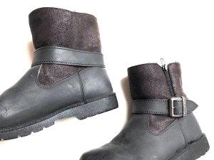 Buffalo Ankle Biker Boots Voll Gefüttert Nubuk Leder Cosy Stiefel Grunge