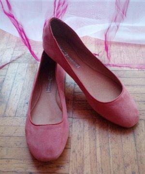 Buffalo Ballerina Gr. 38 NEU rosa Altrosa pink wildleder ballerinas leder flach