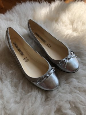 Buffalo Patent Leather Ballerinas silver-colored