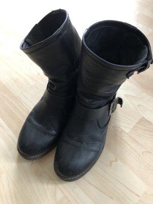 Buffalo Biker-Boots 38, Boots schwarz, Leder