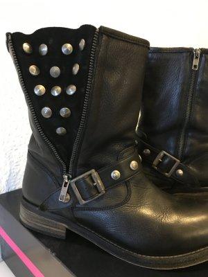 Buffalo Biker Boots * mit Nieten * Gr. 40 (= Gr. 41) * schwarz
