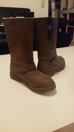 Buffalo Short Boots brown red leather