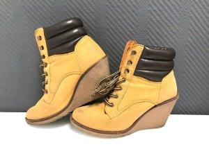 Buffalo Boots Stiefel Stiefeletten 39 40 Senf gelb braun Schnürstiefel Keilabsatz Timberland Zara