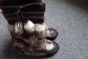 Buffalo Boots, Top Trend Aztekenmuster,Gr 38,Felloptikstiefel,schwarz