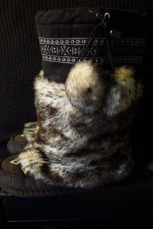 """Buffalo Boots """"warm"""", Top Trend Aztekenmuster,Gr 38,Felloptikstiefel,schwarz"""