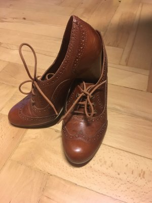 Buffalo Heel Pantolettes cognac-coloured