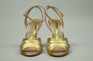 Buffalo Burlesque Pin Up High Heels Sandaletten gold silber