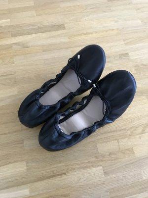 Buffalo Faltballerinas Echtleder schwarz