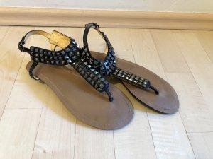Buffalo Sandalo toe-post nero-argento