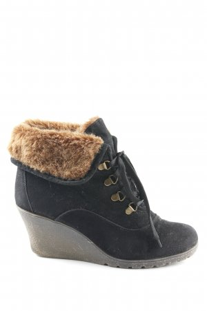 Buffalo girl Keil-Stiefeletten schwarz-braun Fellbesatz