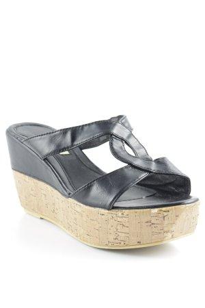 Buffalo girl Plateauzool sandalen zwart-lichtbruin Beach-look
