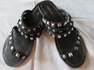 Buffalo girl Sandalias de tiras negro-color plata Cuero