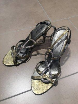 Buffalo girl Sandalo con cinturino e tacco alto argento-oro