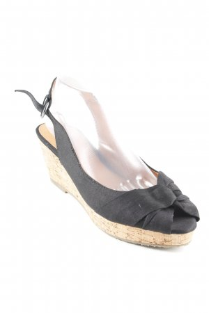 Buffalo girl Wedges Sandaletten schwarz-hellbraun Casual-Look