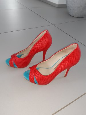 Buffalo Peep Toe Pumps red-baby blue