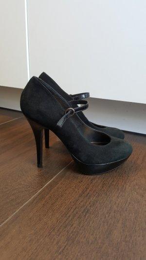 Buffalo High Heels 37D Lack Leder Plateau Riemchen schwarz