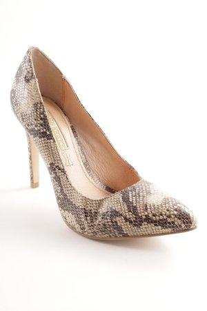 Buffalo High Heels creme-schwarz Animalmuster Elegant