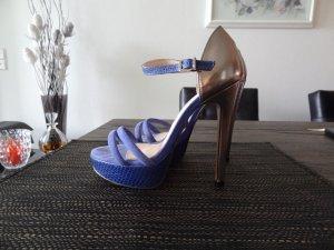 BUFFALO High Heels, Gr. 37, blau-silber, top Zustand!!