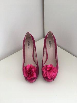 Buffalo High Heels in pinkem Wildleder mit Blume
