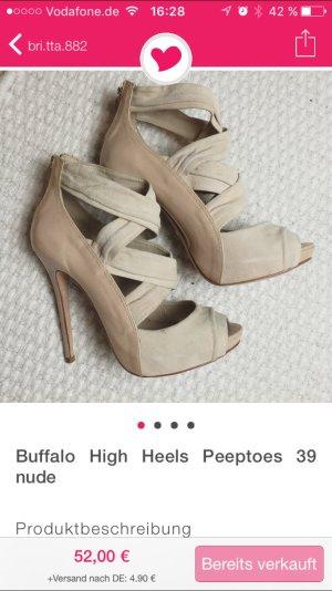 Buffalo High Heels Peeptoes 39 nude