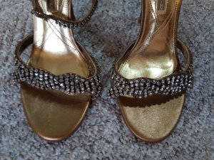 Buffalo Highheels gold Strass