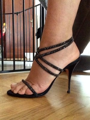 Buffalo Strapped High-Heeled Sandals black-silver-colored leather