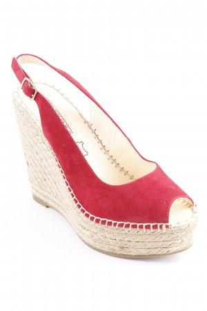 Buffalo Keil-Pumps rot-beige Beach-Look