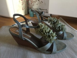 Buffalo Wedge Sandals dark green