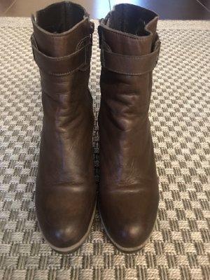 Buffalo Keilstiefeletten Leder Stiefeletten Stiefel Keilabsatz Gummi braun Keil Boots 41 dunkelbraun