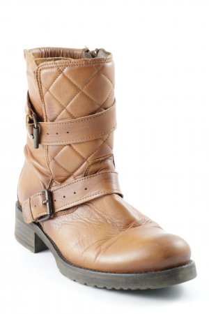 Buffalo Short Boots light brown-dark brown quilting pattern college style