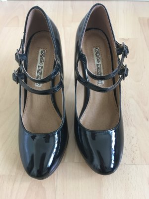 Buffalo Strapped pumps black leather