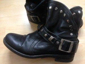 Buffalo Leder Biker-Boots - schwarzes Leder
