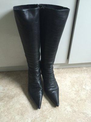 Buffalo Leder Stiefel in Schwarz
