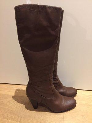 Buffalo High Heel Boots brown-cognac-coloured leather