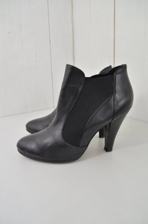 BUFFALO LONDON Damen Ankle Boots Stiefelletten Schwarz Gummizug 10cm Absatz 38