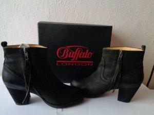 Buffalo London Damen Boots Echtleder 39 Schwarz Stiefeletten NP 119,90