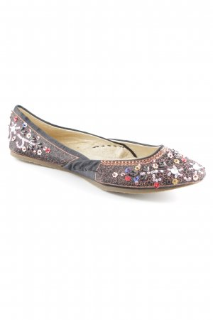 Buffalo London Foldable Ballet Flats black-bronze-colored extravagant style