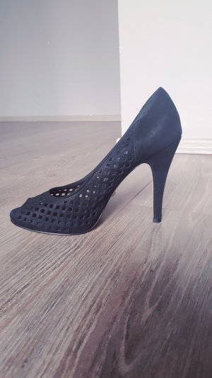 Buffalo London High Heels Exclusiv Gr 38 Peeptoes Echtleder Pumps Sandaletten durchbrochen schwarz