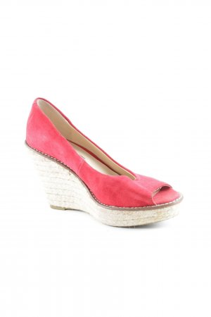 Buffalo London Keil-Pumps rot-creme Beach-Look